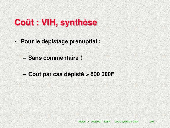 Coût : VIH, synthèse