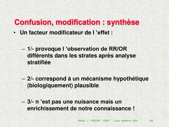 Confusion, modification : synthèse
