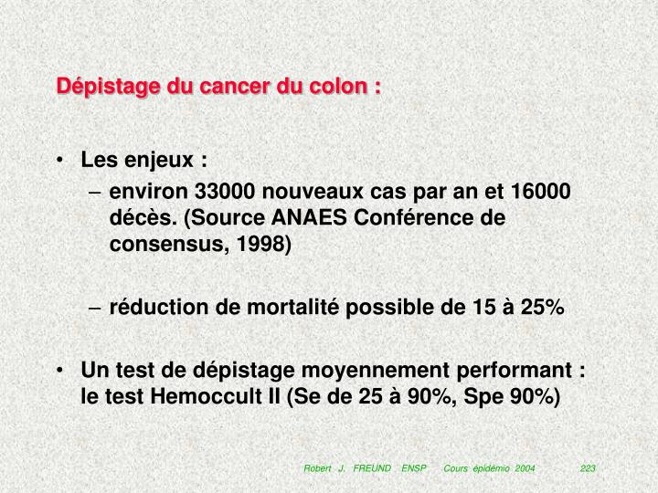 Dépistage du cancer du colon :
