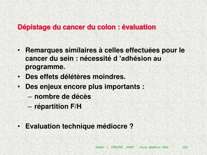 Dépistage du cancer du colon : évaluation