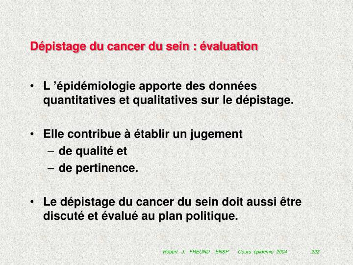 Dépistage du cancer du sein : évaluation