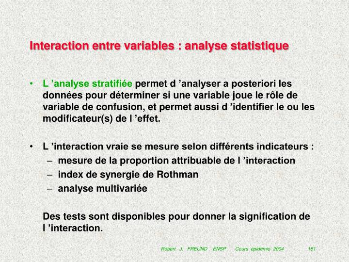 Interaction entre variables : analyse statistique