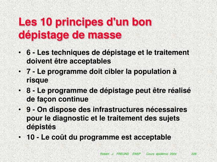 Les 10 principes d'un bon dépistage de masse