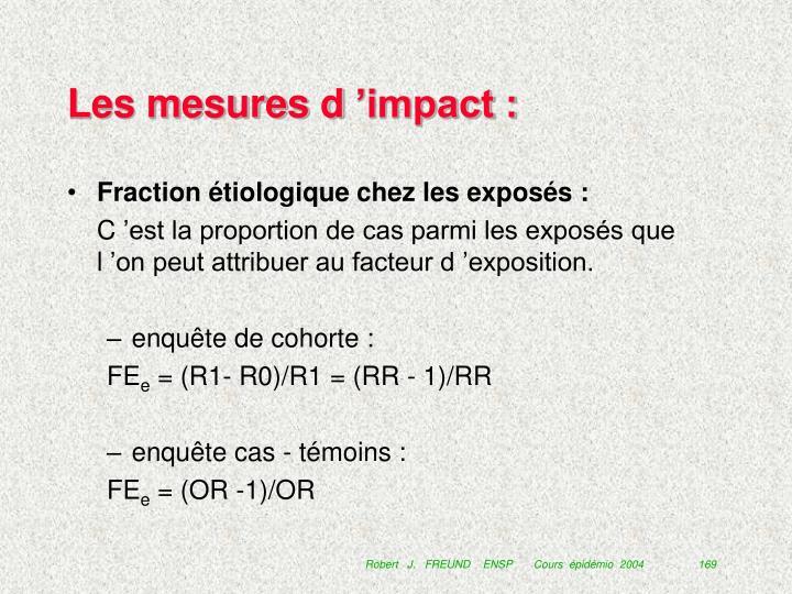 Les mesures d'impact :