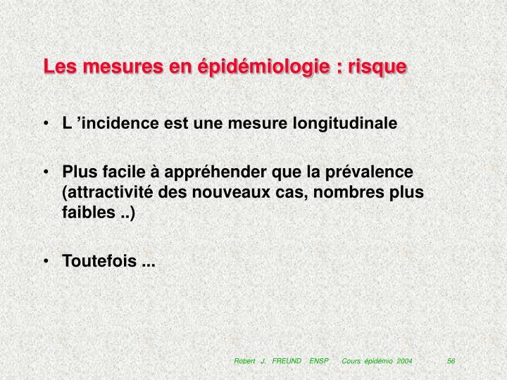 Les mesures en épidémiologie : risque