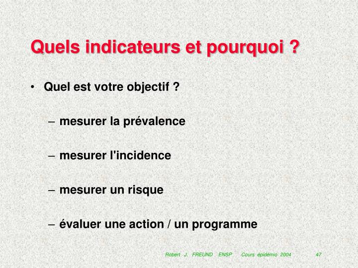 Quels indicateurs et pourquoi ?