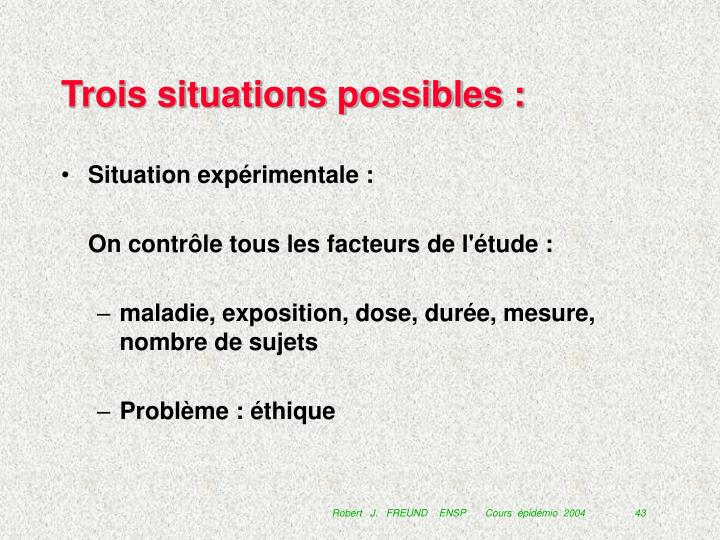 Trois situations possibles :