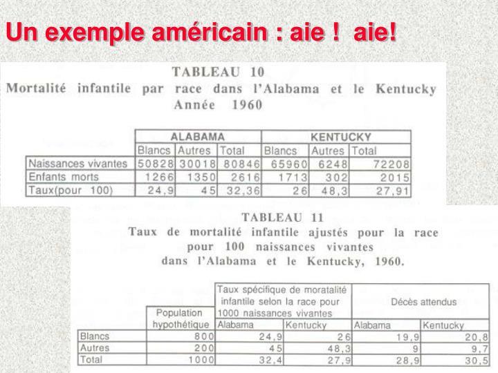 Un exemple américain : aie !  aie!