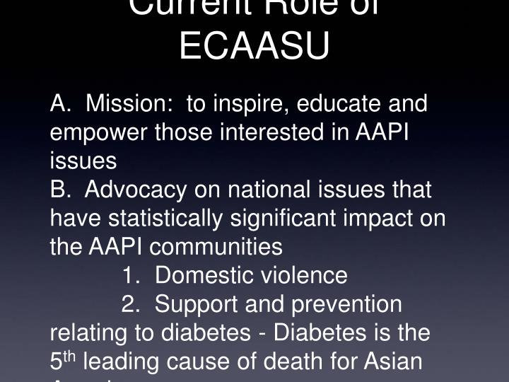 Current Role of ECAASU