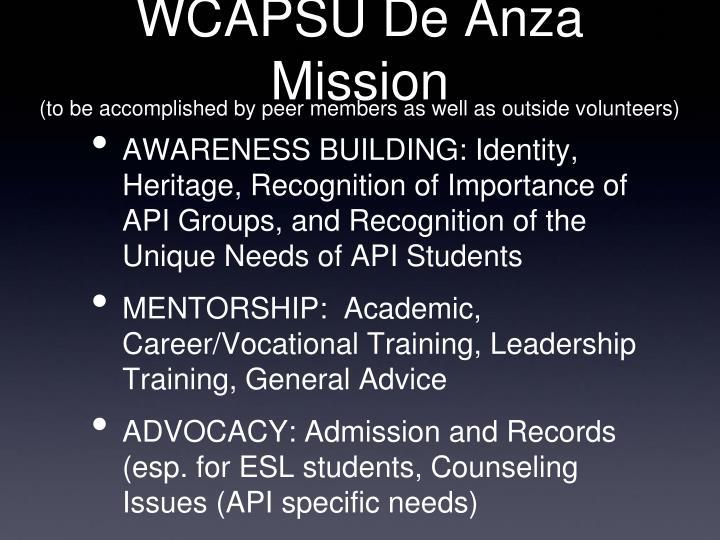 WCAPSU De Anza Mission
