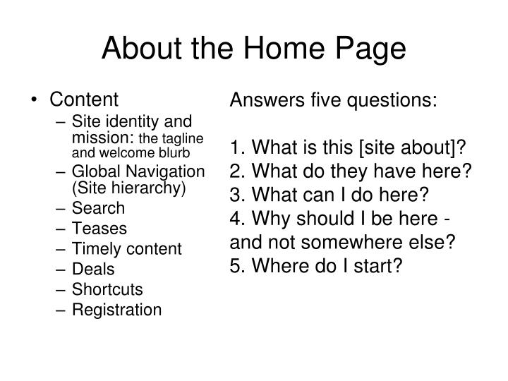 About the Home Page