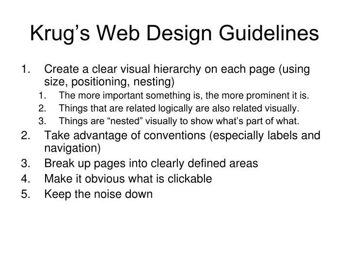 Krug's Web Design Guidelines
