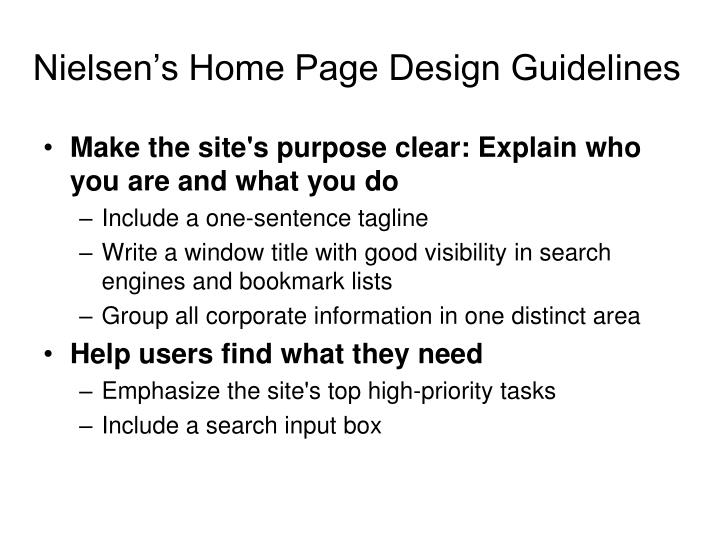 Nielsen's Home Page Design Guidelines