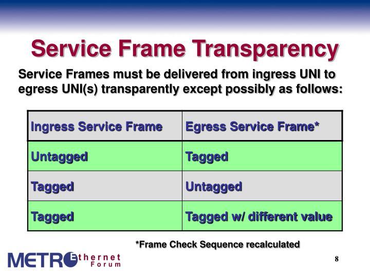 Service Frame Transparency