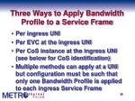 three ways to apply bandwidth profile to a service frame