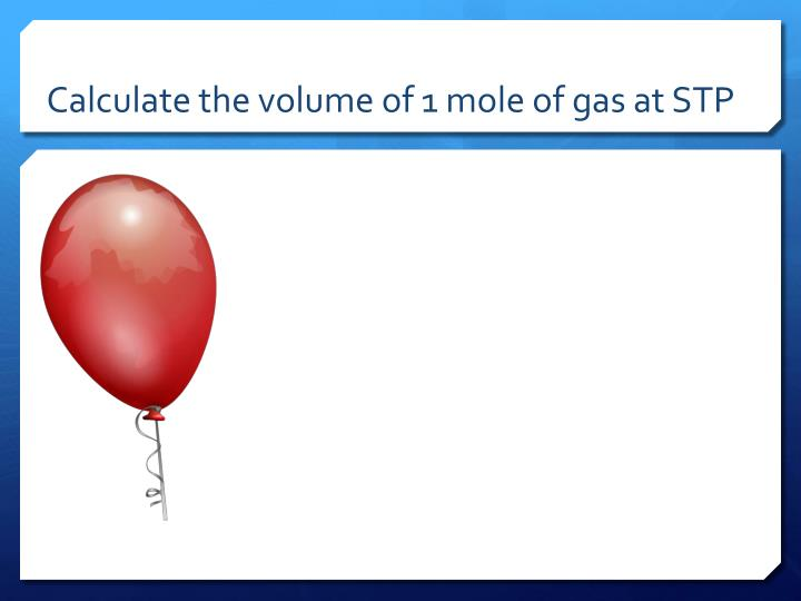 Calculate the volume of 1 mole of gas at