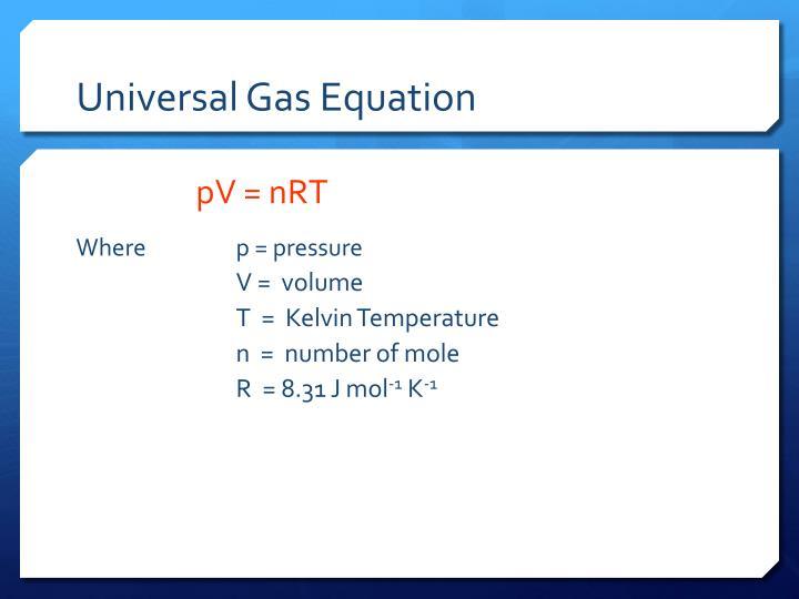 Universal Gas Equation