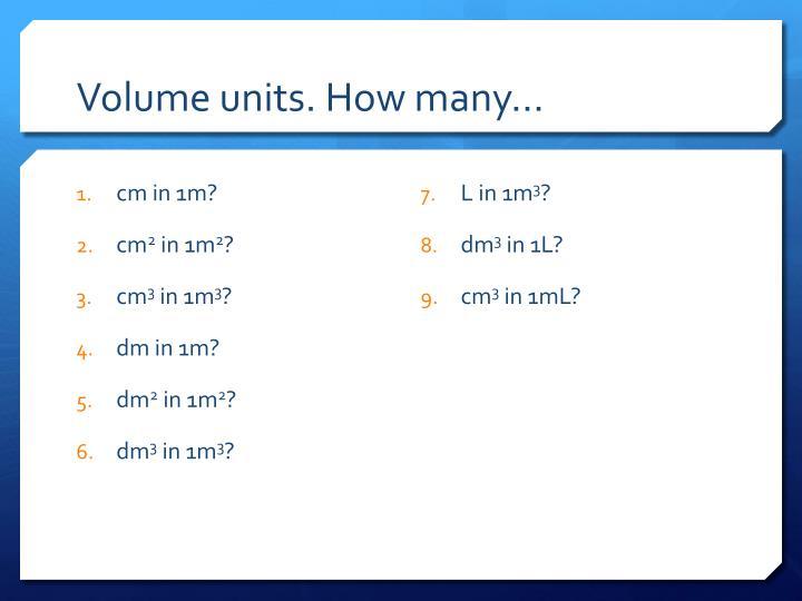 Volume units. How many…