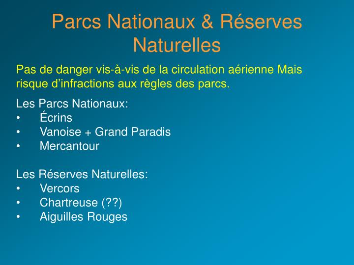 Parcs Nationaux & Réserves Naturelles