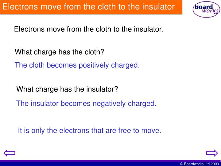 Electrons move from the cloth to the insulator