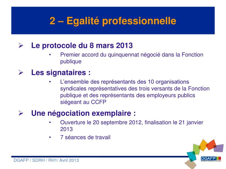 2 – Egalité professionnelle