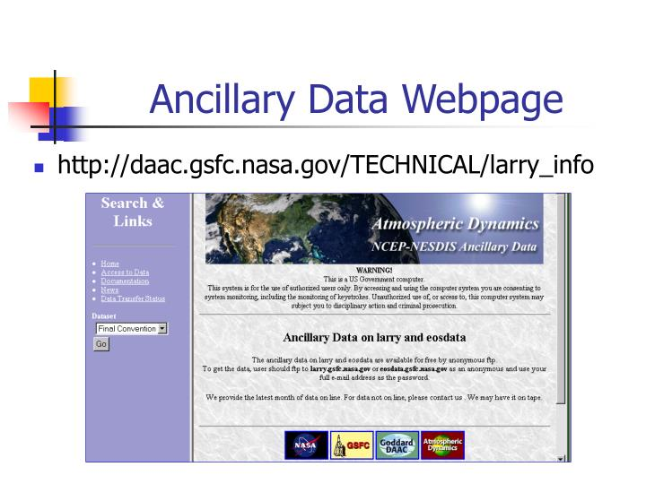 Ancillary Data Webpage