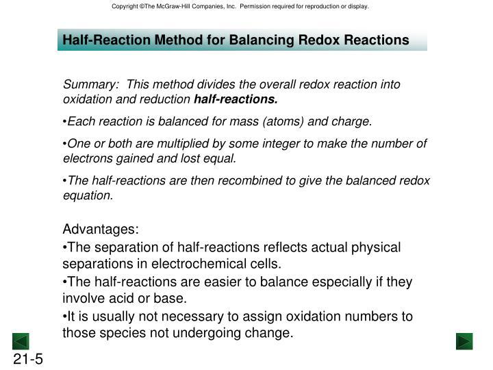 Half-Reaction Method for Balancing Redox Reactions