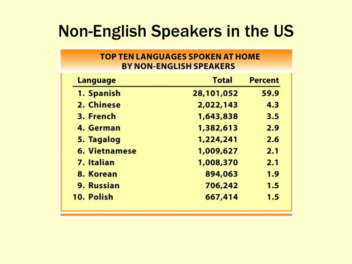 Non-English Speakers in the US