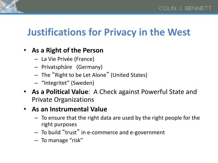 Justifications for Privacy in the West