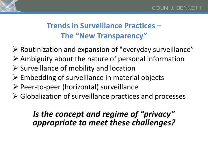 Trends in Surveillance Practices –