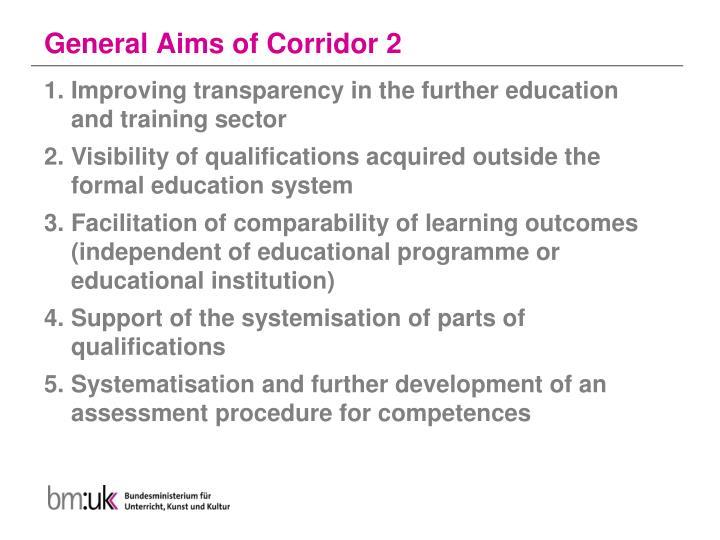 General Aims of Corridor 2