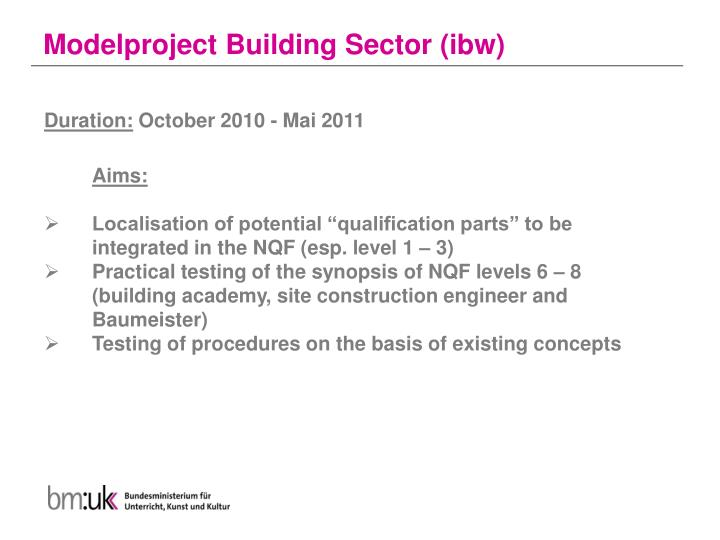 Modelproject Building Sector (ibw)