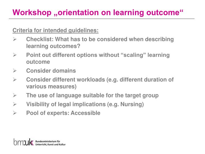 "Workshop ""orientation on learning outcome"""