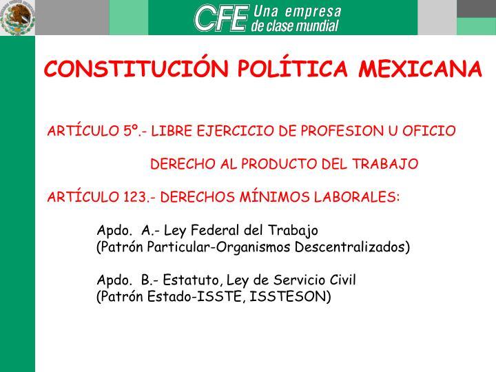 CONSTITUCIÓN POLÍTICA MEXICANA