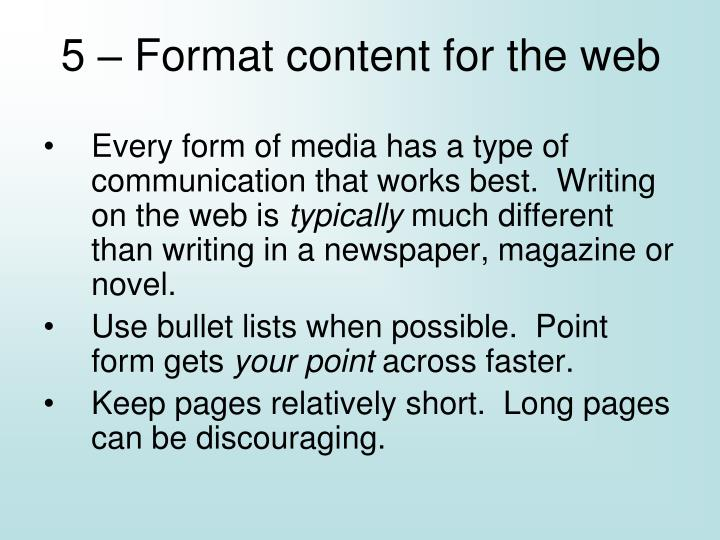 5 – Format content for the web