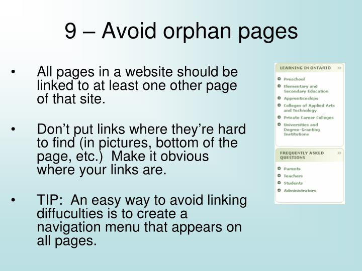 9 – Avoid orphan pages