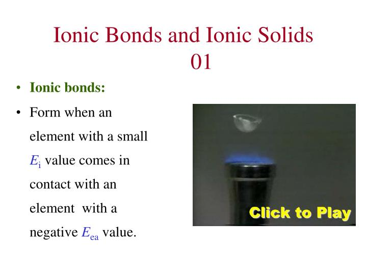 Ionic Bonds and Ionic Solids	01