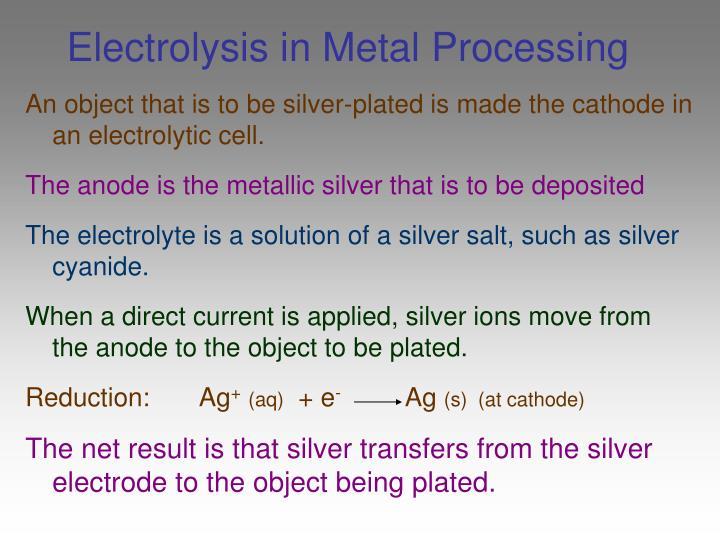 Electrolysis in Metal Processing