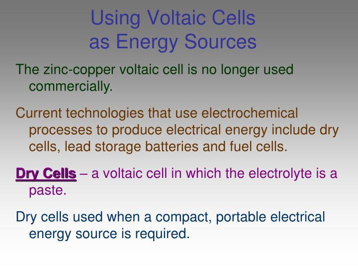 Using Voltaic Cells