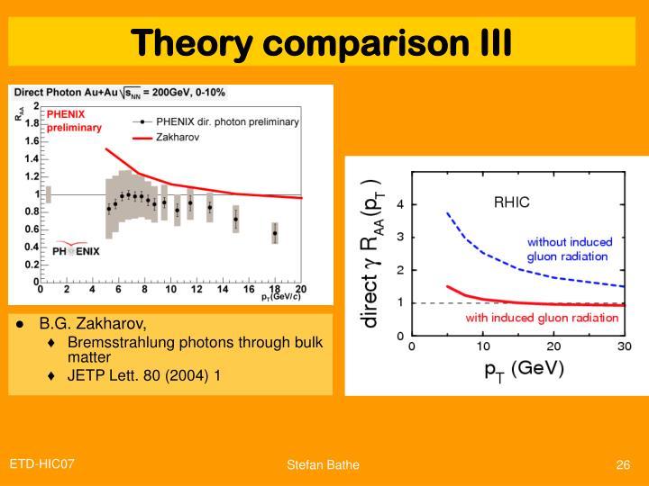 Theory comparison III