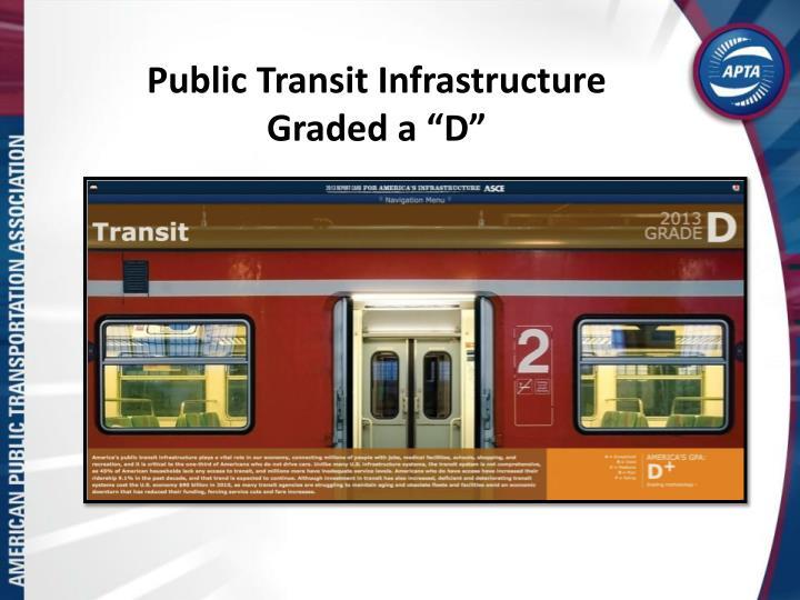 "Public Transit Infrastructure Graded a ""D"""