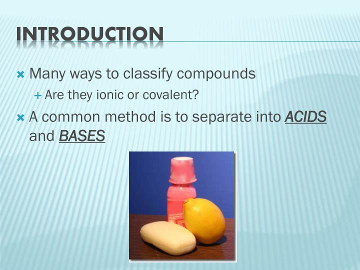 Many ways to classify compounds