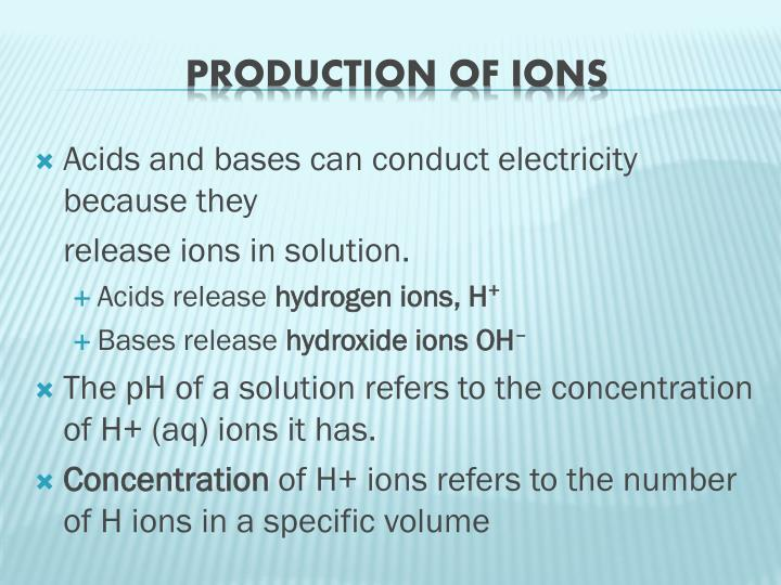 Acids and bases can conduct electricity because they