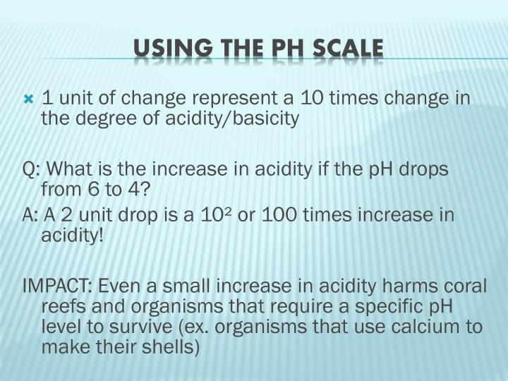 1 unit of change represent a 10 times change in the degree of acidity/
