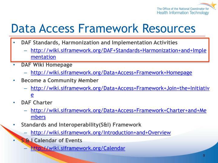 Data Access Framework Resources
