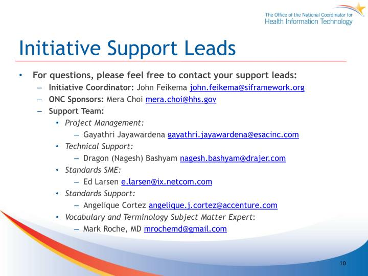 Initiative Support Leads