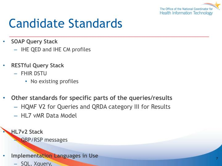 Candidate Standards