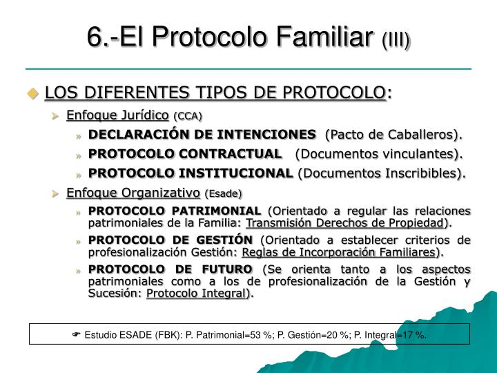 6.-El Protocolo Familiar