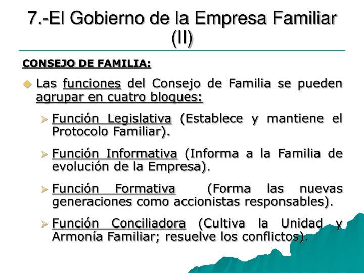 7.-El Gobierno de la Empresa Familiar (II)
