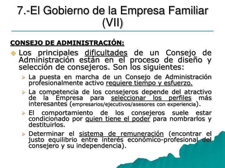 7.-El Gobierno de la Empresa Familiar (VII)
